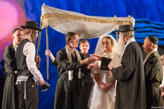 The Wedding - Johnny Alison (Motel), Saffi Needham (Tzeitel) and Terry Pemberton Piggott (Rabbi)