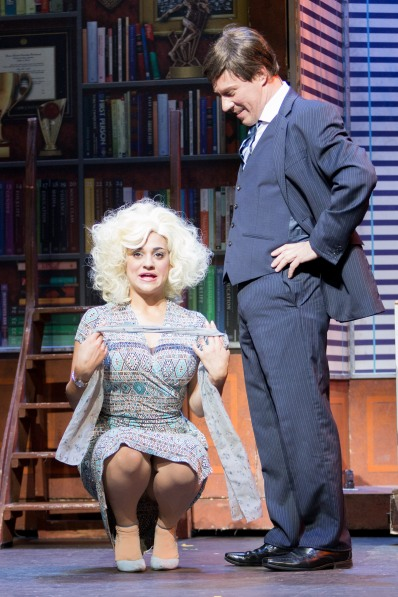 Saffi Needham and Dave Crewe as Doralee and Mr Hart, 9 to 5, New Theatre, May 2018