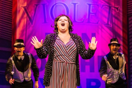 Frankie Alexandra as Violet, and ensemble, 9 to 5, New Theatre, May 2018
