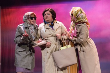 Nicola Blake, Saffi Needham and Frankie Alexandra as Judy, Doralee and Violet, 9 to 5, New Theatre, May 2018